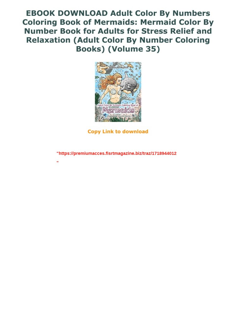 EBOOK DOWNLOAD Adult Color By Numbers Coloring Book of Mermaids: Mermaid Color By Number Book for Ad