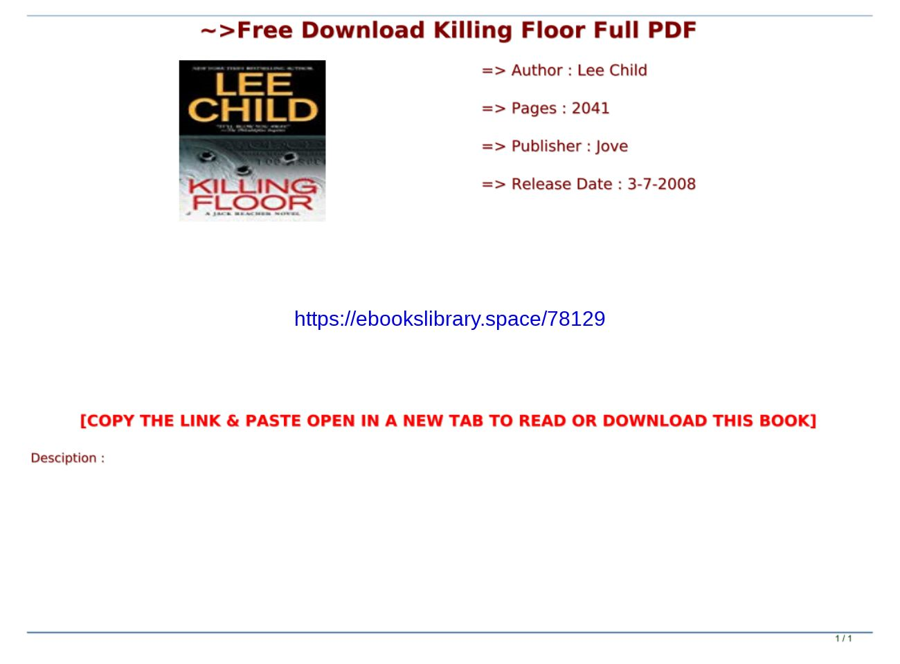 Free Download Killing Floor Full Pdf Text Images Music Video